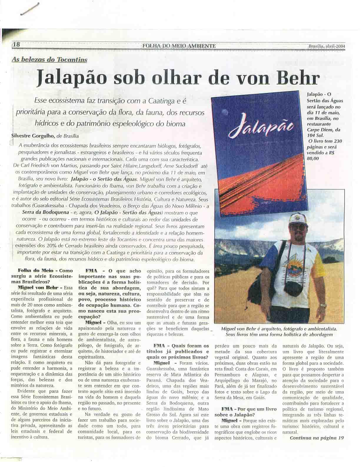Reportagem LIVRO Jalapão